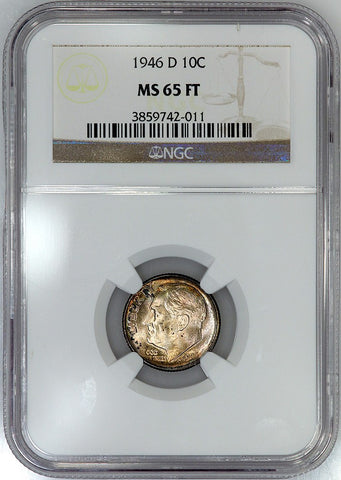 1946-D Roosevelt Dime - NGC MS 65 FT (Full Torch)