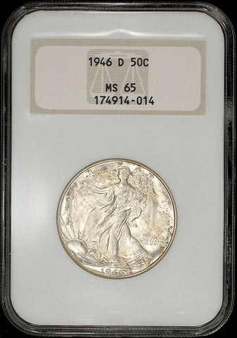 "1946-D Walking Liberty Half Dollar ~ NGC MS 65 ~ Old ""Fatty"" Holder"