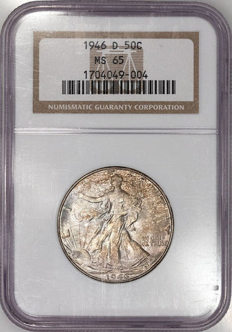 1946-D Walking Liberty Half Dollar ~ NGC MS 65