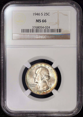 1946-S Washington Quarter - NGC MS 66