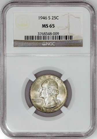 1946-S Washington Quarter - NGC MS 65