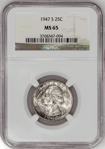 1947-S Washington Quarter - NGC MS 65