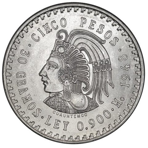 1948 Mexico Silver 5 Pesos KM.465 - Choice Brilliant Uncirculated