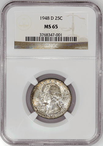 1948-D Washington Quarter - NGC MS 65