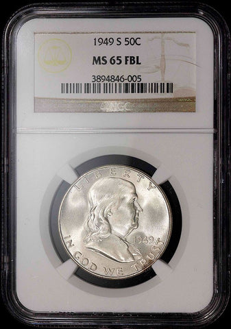 1949-S Franklin Half Dollar - MS 65 Full Bell Lines / Registry Ready