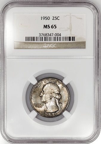 1950 Washington Quarter - NGC MS 65 - Gem Brilliant Uncirculated