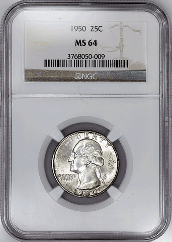 1950 Washington Quarter - NGC MS 64