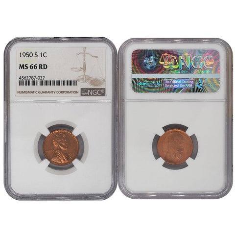 1950-S Lincoln Cent - NGC - MS 66 RD