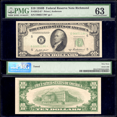 1950-B $10 Richmond Federal Reserve Star Note Fr. 2012-E* - PMG Choice Unc 63 Toned