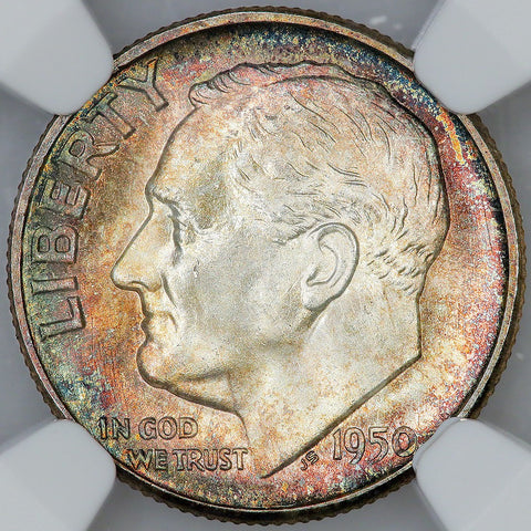 1950-S Roosevelt Dime - NGC MS 65 FT (Full Torch)