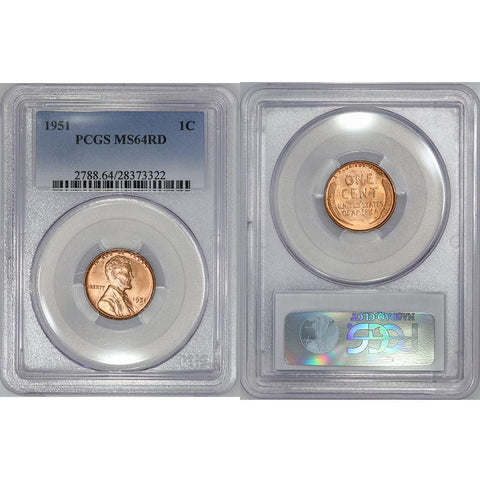 1951 Lincoln Wheat Cent - PCGS MS 64 RD - Choice Red