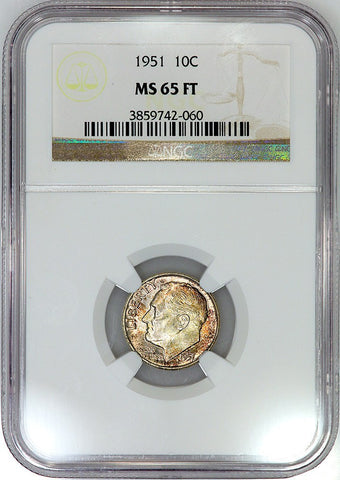 1951 Roosevelt Dime - NGC MS 65 FT (Full Torch)