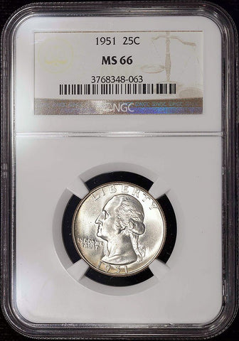 1951 Washington Quarter - NGC MS 66