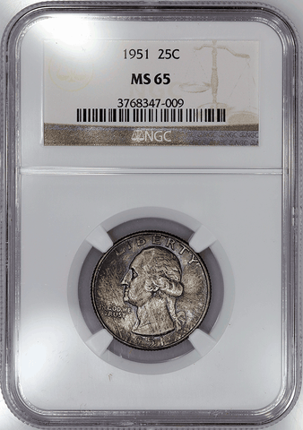 1951 Washington Quarter - NGC MS 65