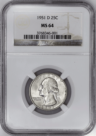 1951-D Washington Quarter - NGC MS 64