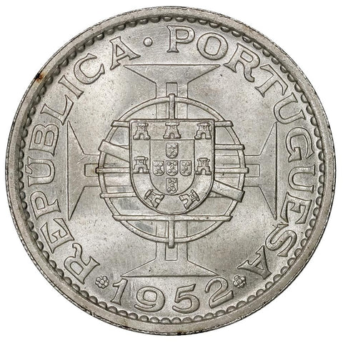 1952 Macau Silver 5 Patacas KM. 5 - Brilliant Uncirculated