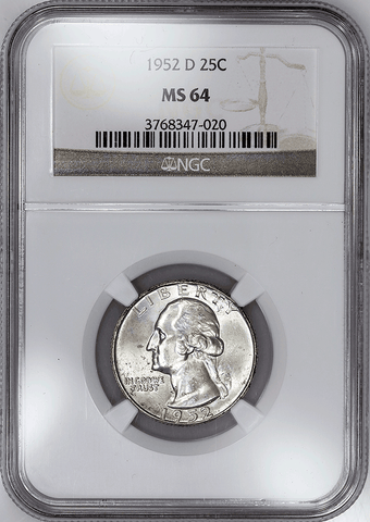 1952-D Washington Quarter - NGC MS 64