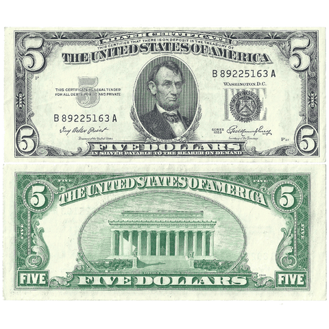 1953 $5 Silver Certificate Fr. 1655 - Extremely Fine