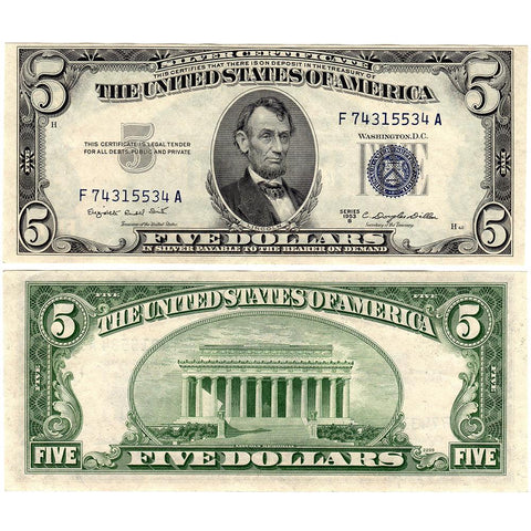 1953 $5 Silver Certificates - Very Good, Fine, Very Fine, XF/AU & Uncirculated