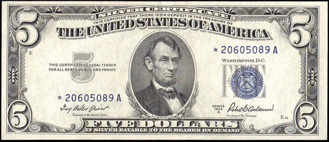 1953-A $5 Silver Certificate Star Note Fr. 1656* - Choice Very Fine+
