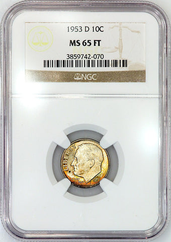 1953-D Roosevelt Dime - NGC MS 65 FT (Full Torch)