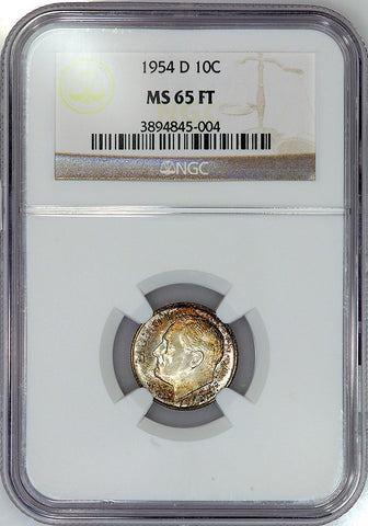 1954-D Roosevelt Dime - NGC MS 65 FT (Full Torch)