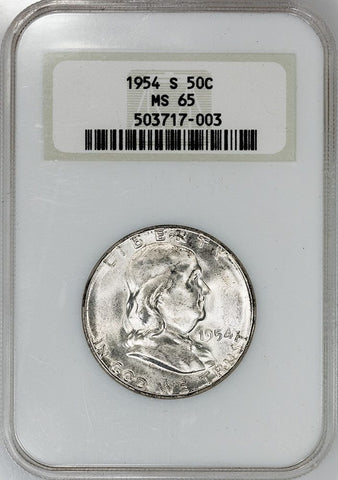 1954-S Franklin Half Dollar - NCG MS 65 (No Line Fatty Slab)