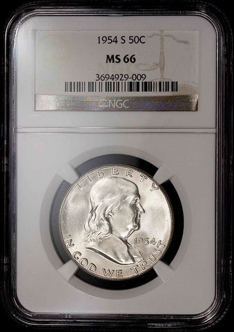 1954-S Franklin Half Dollar - MS 66 / Registry Ready