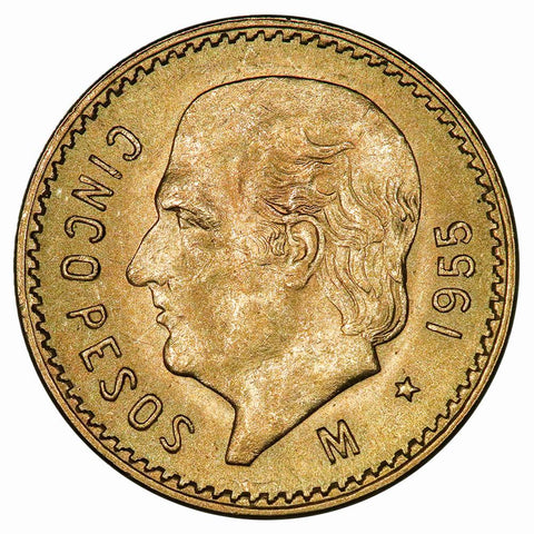 1955 Restrike Mexico 5 Peso Gold Coin KM. 464 - PQ Brilliant Uncirculated