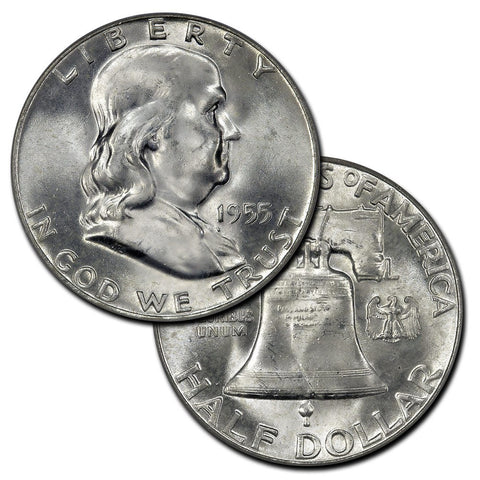 1955 Franklin Half Dollar - The Key To The Series - Brilliant Uncirculated
