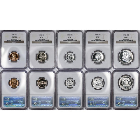 1955 U.S. Proof Set - NGC PF 67 - Superb Gem Proof