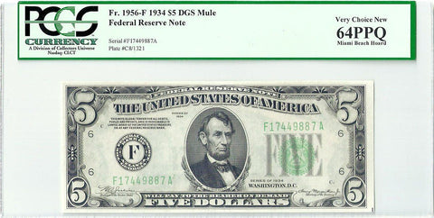 1934 $5 Federal Reserve Note Atlanta District Fr. 1956-F (Mule) - PCGS Very Choice New 64 PPQ