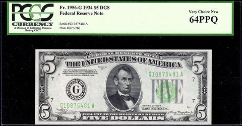 1934 $5 Federal Reserve Note Chicago District DGS Fr. 1956-G - PCGS Very Choice New 64 PPQ