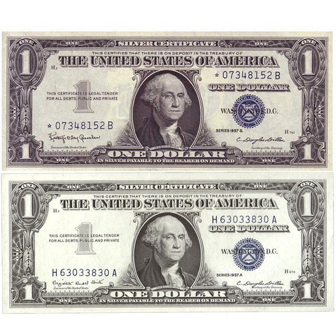 Pair of 1957 $1 Silver Certificates (One Star Note) ~ Crisp Uncirculated