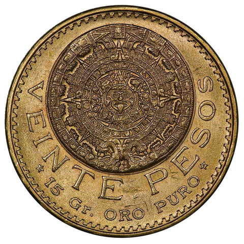 1959 Mexico 20 Peso Gold Coin - KM. 478 - Brilliant Uncirculated