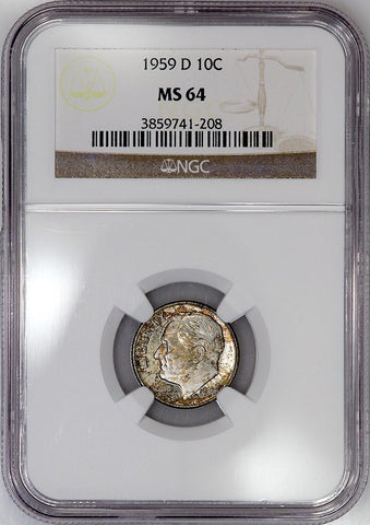 1959-D Roosevelt Dime - NGC MS 64