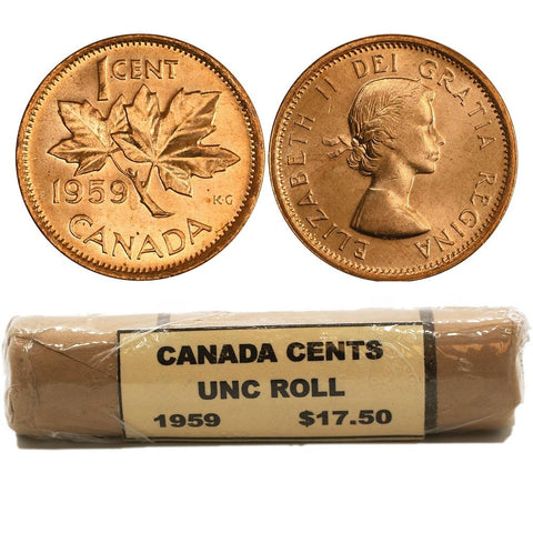 1959 Canadian Cent Uncirculated Roll