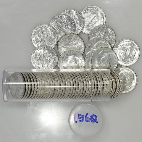 Roll of 50 1960 Roosevelt Dimes (90% Silver) - Crisp Original Roll
