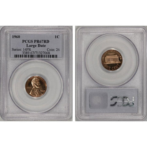 1960 Lincoln Cent Large Date - PCGS PR 67 DCAM RD