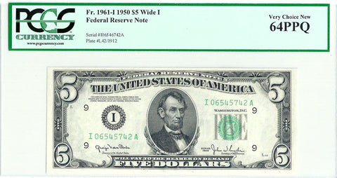 1950 $5 Federal Reserve Note Minneapolis District Fr. 1961-I (Wide I) - PCGS Very Choice New 64 PPQ
