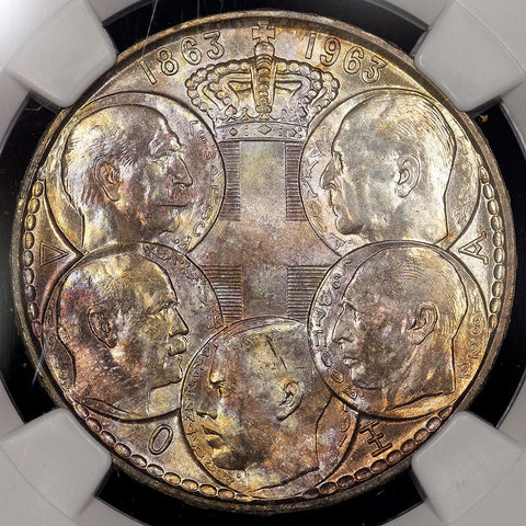 1963 Greece Five Greek Kings Silver 30 Drachmai KM.86 - Pretty Toning - NGC MS 64