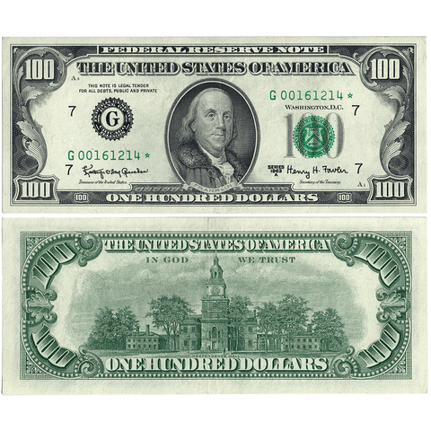 1963-A $100 Federal Reserve Bank Star Note San Francisco District Fr. 2163-G* - Choice Very Fine