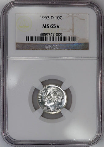 1963-D Roosevelt Dime - NGC MS 65 STAR