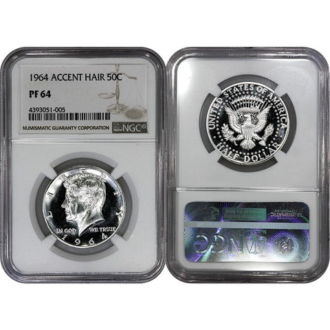 1964 Proof Accented Hair Silver Kennedy Half - NGC PF 64