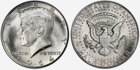 1964 to 1996 Kennedy Half Dollars By Date - Brilliant Uncirculated