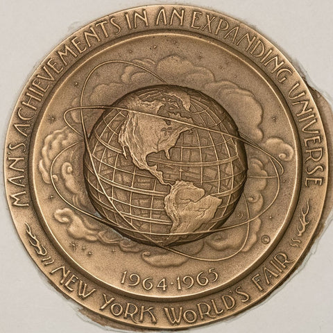 1964 New York Worlds Fair 64mm Bronze Medal Medallic Art Co. In Original Box