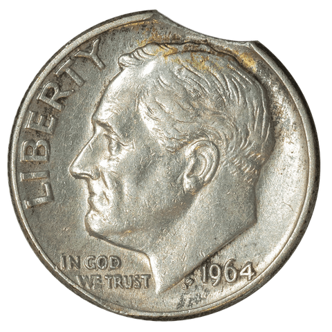 1964-D Roosevelt Dime ~ Clipped ~ About Uncirculated