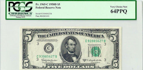 1950-D $5 Federal Reserve Note Philadelphia District Fr. 1965-C - PCGS Very Choice New 64 PPQ