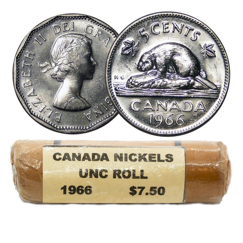 1966 Canadian Nickel Uncirculated Roll