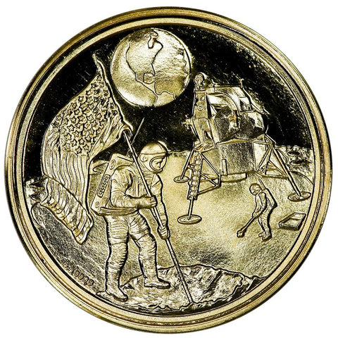 1969 Apollo 11 Moon Landing .999 Gold Medal (German Issue) 26mm/7.95g - Gem Proof